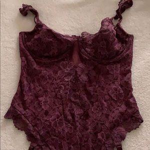 NWT Victoria's Secret 36C Burgundy teddy w/ garter